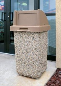 decorative outdoor garbage cans. Exposed Aggregate Concrete Trash Cans are a great alternative to metal or  plastic outdoor waste receptacles With concrete you can add that decorative touch Park Can Commercial