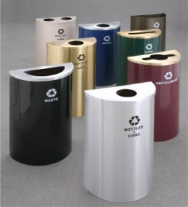Indoor and outdoor recycle bins commercial trash cans for Commercial bathroom trash cans